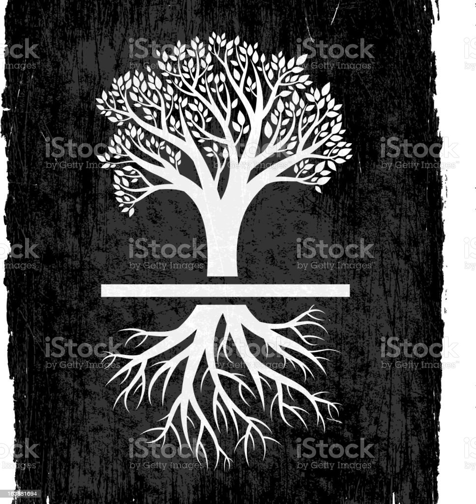 tree with roots on black royalty free vector background stock