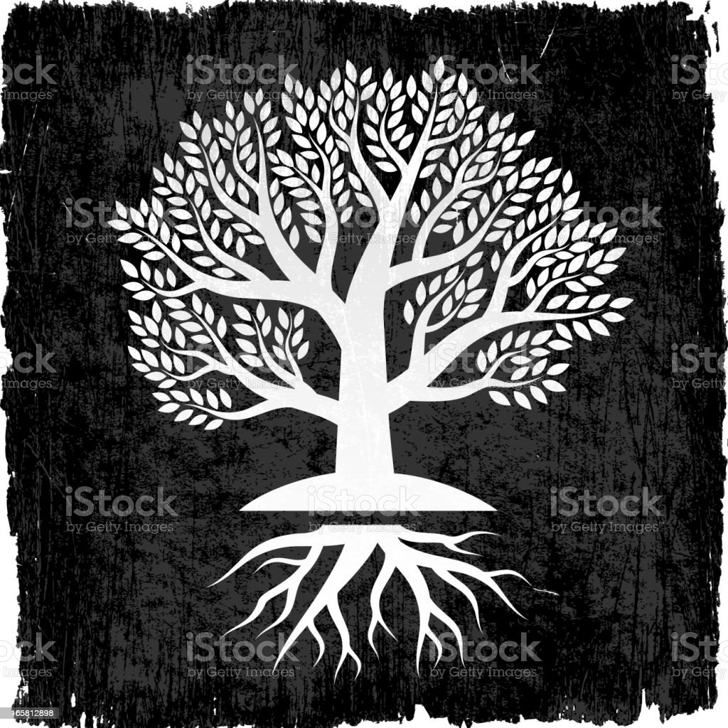 Free Vector Illustration Juniper: Tree With Roots On Black Royalty Free Vector Background