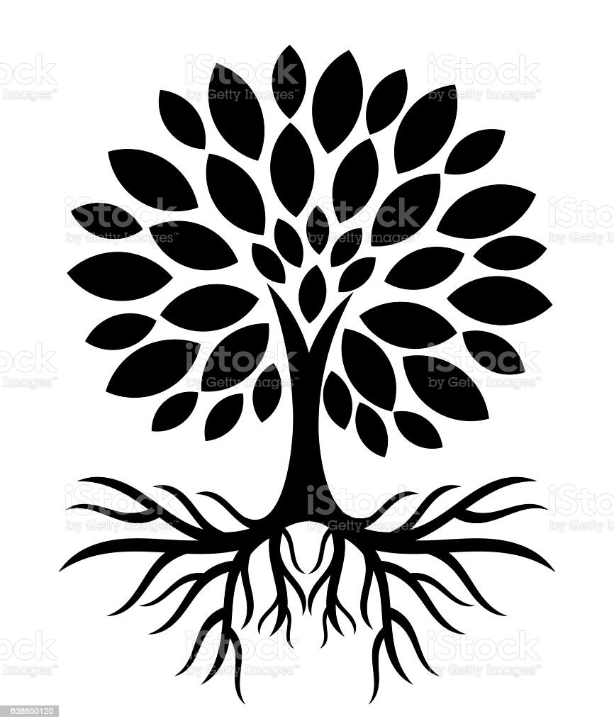 Tree with roots silhouette vector art illustration