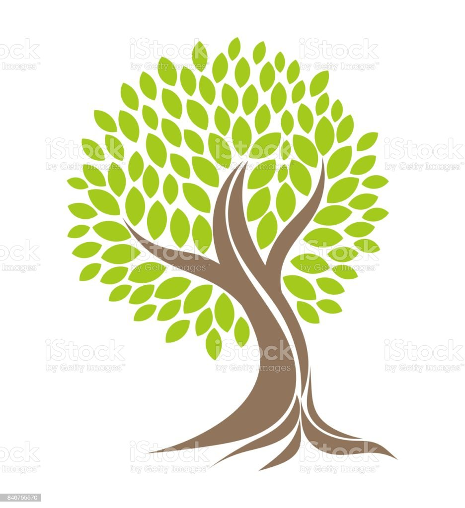 Tree with roots. vector art illustration