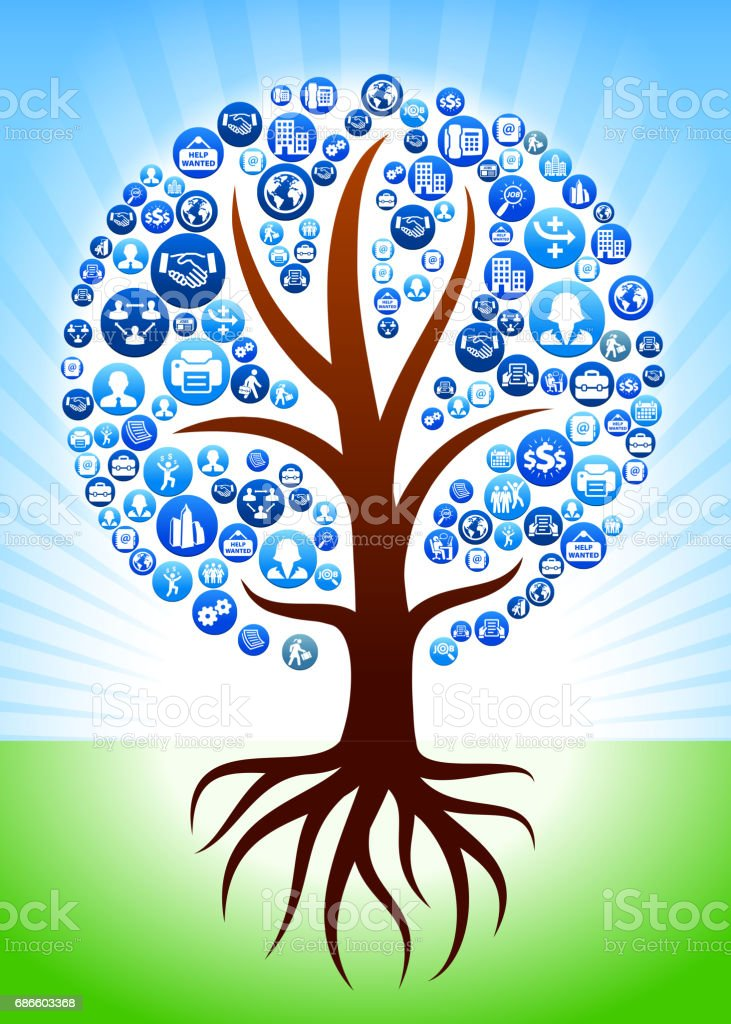 Tree with Roots Work and Employment Blue Vector Button Pattern royalty-free tree with roots work and employment blue vector button pattern stock vector art & more images of adult
