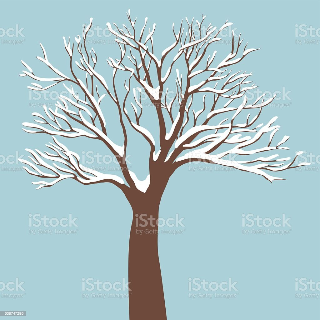 Tree with Snow on the Branches vector art illustration