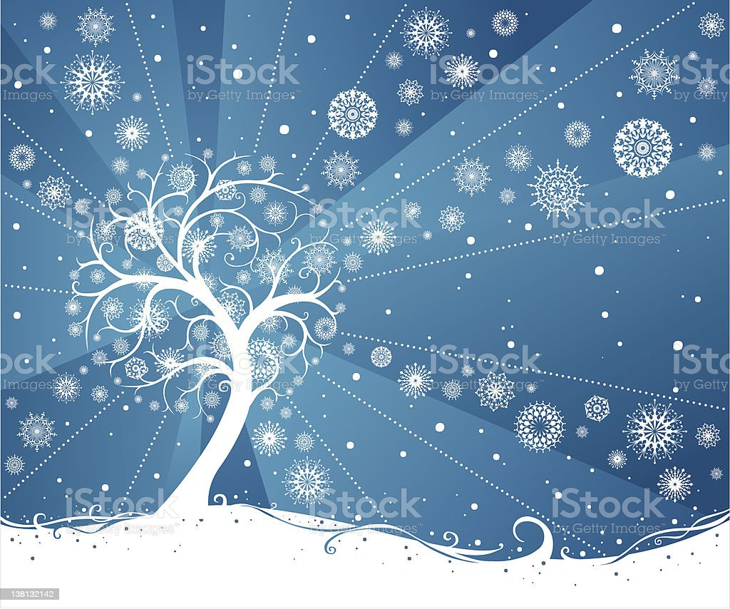Tree with snowflakes royalty-free stock vector art