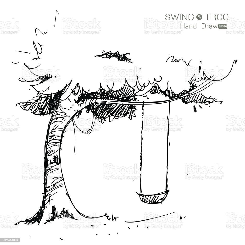 how to draw a tree with a tire swing