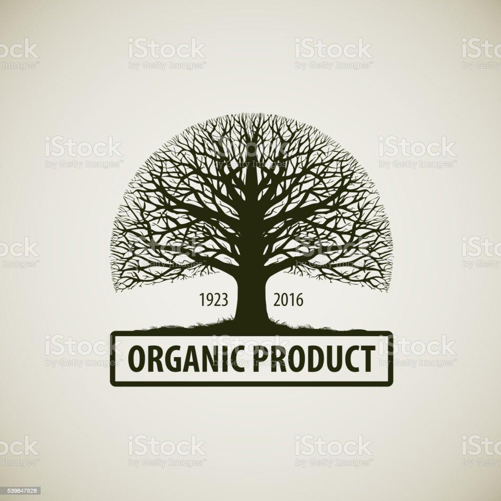Árbol sin hojas. Naturaleza o ecología vector de logo. Icono de roble - ilustración de arte vectorial