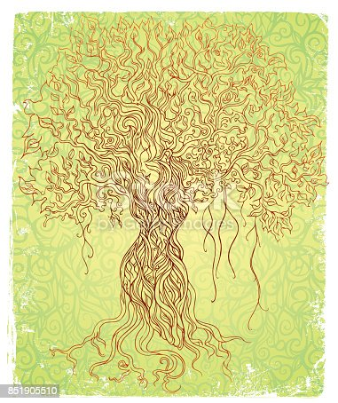 pen and ink vector illustration of a female tree, 4 design elements