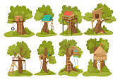 Tree wood houses for children playground with ladder, swing and flip-flap to play for kids outdoor flat vector illustrations set. Wooden treehouse for kids, park construction of little playhouses.