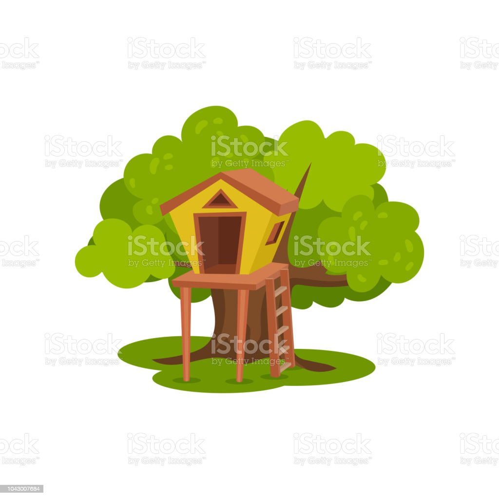 Treehouse, hut on tree with ladder for kids outdoor activity vector Illustration on a white background