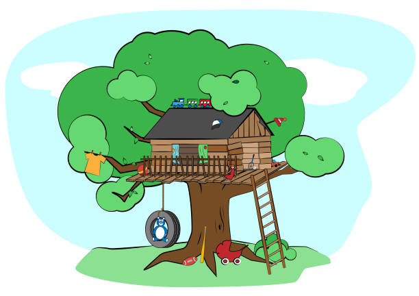 Treehouse vector art illustration