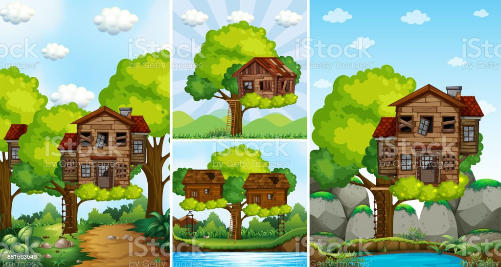 Treehouses on the tree in the park vector art illustration