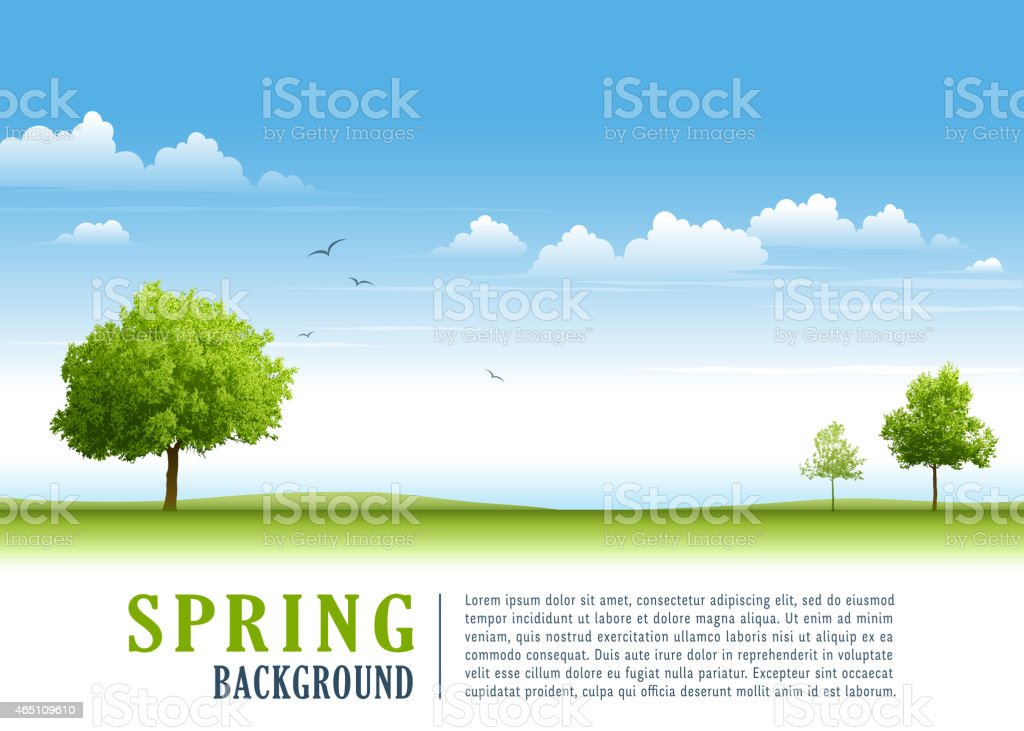Trees and blue sky vector art illustration