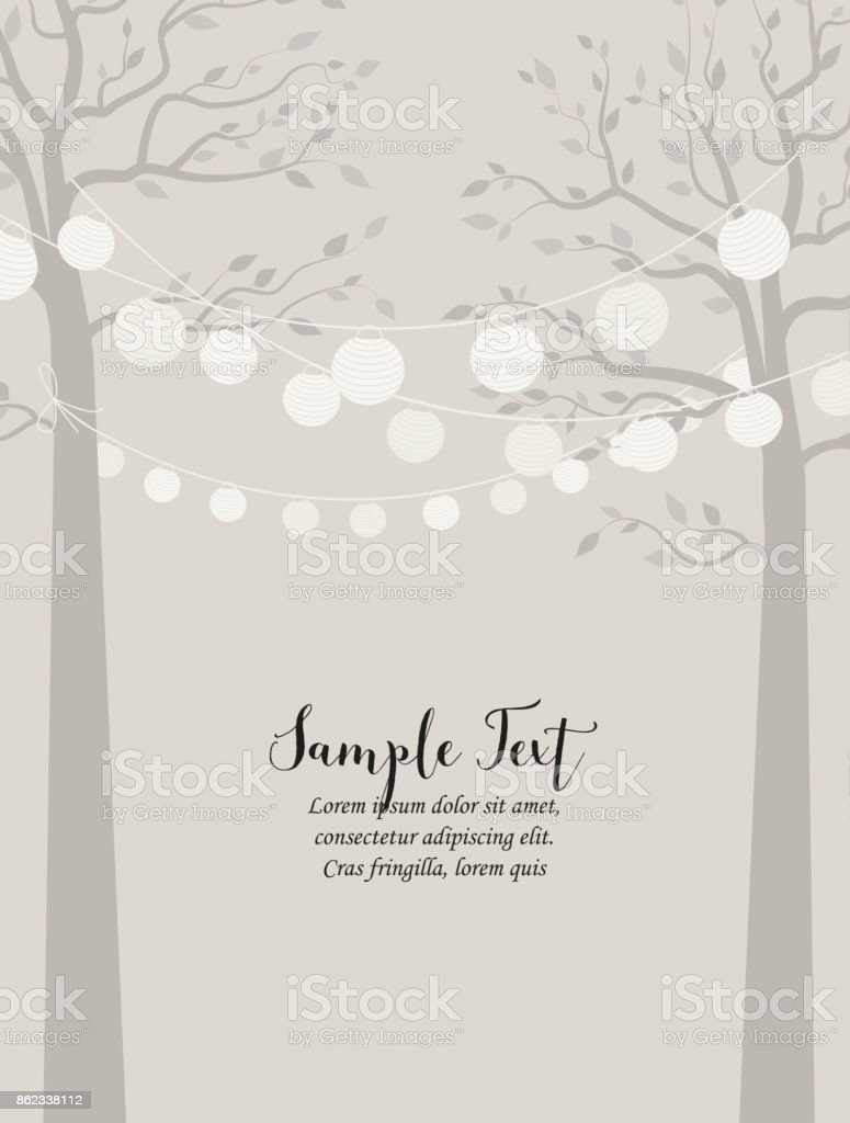 Trees and chain of lanterns vector art illustration
