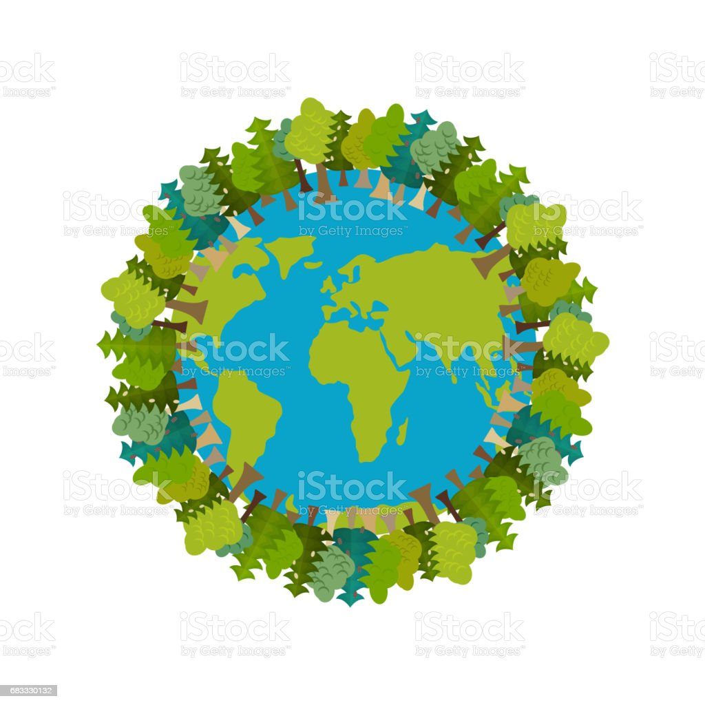 Trees and Earth. Planet and forest. Earthly nature. Earth Day International Nature Festival royalty-free trees and earth planet and forest earthly nature earth day international nature festival stock vector art & more images of april