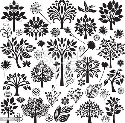 Decorative set of trees and flowers