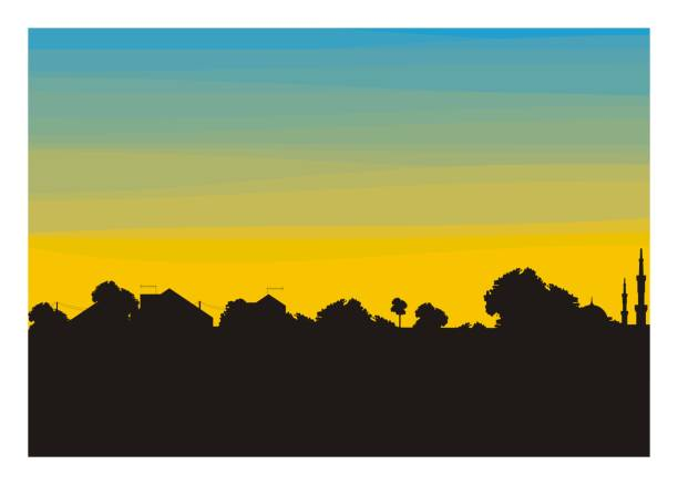 trees and home building silhouette - suburbs stock illustrations