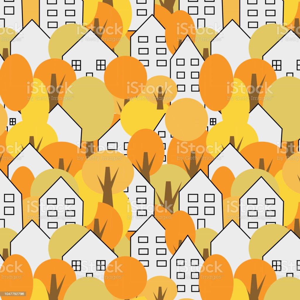 木々 と家のシームレスなパターン秋には秋の風景印刷することができ