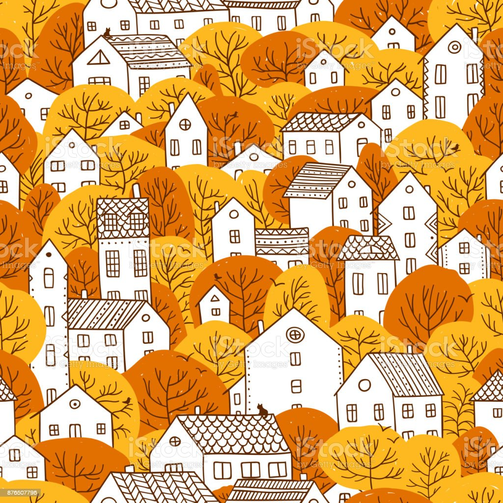 trees and houses seamless pattern autumn orange yellow colors vector art illustration