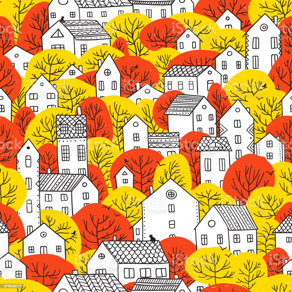 trees and houses seamless pattern autumn red yellow colors vector art illustration