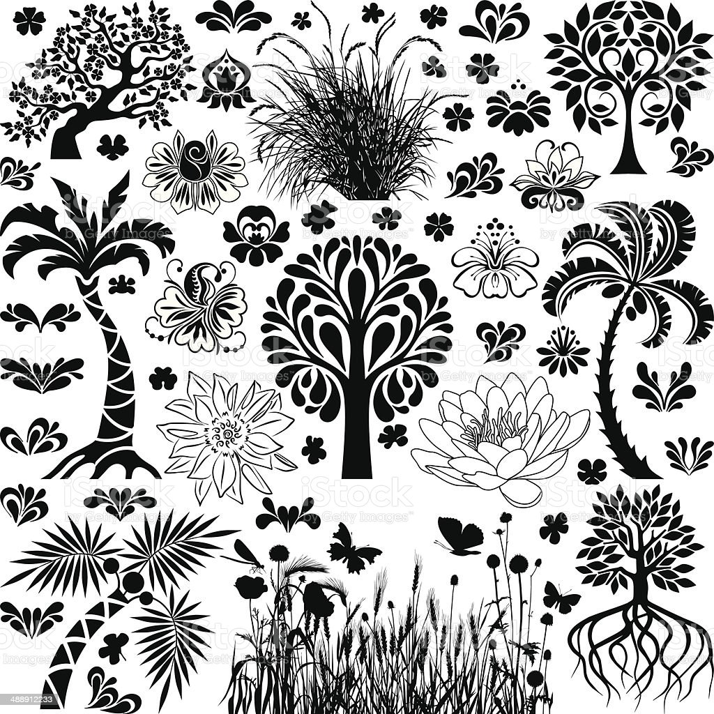 Trees and plants vector art illustration