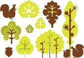 Stylized trees, leaves and squirrels