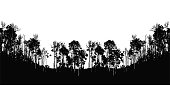 Silhouette illustration of a panorama format treeline with popplers