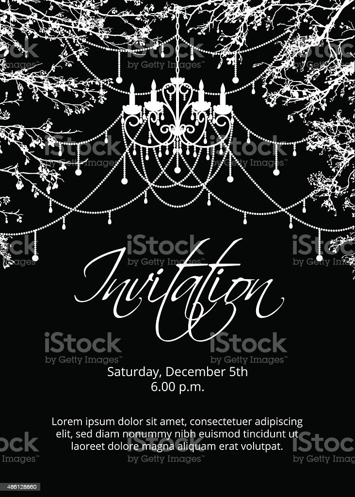 Trees branches with chandelier vector art illustration
