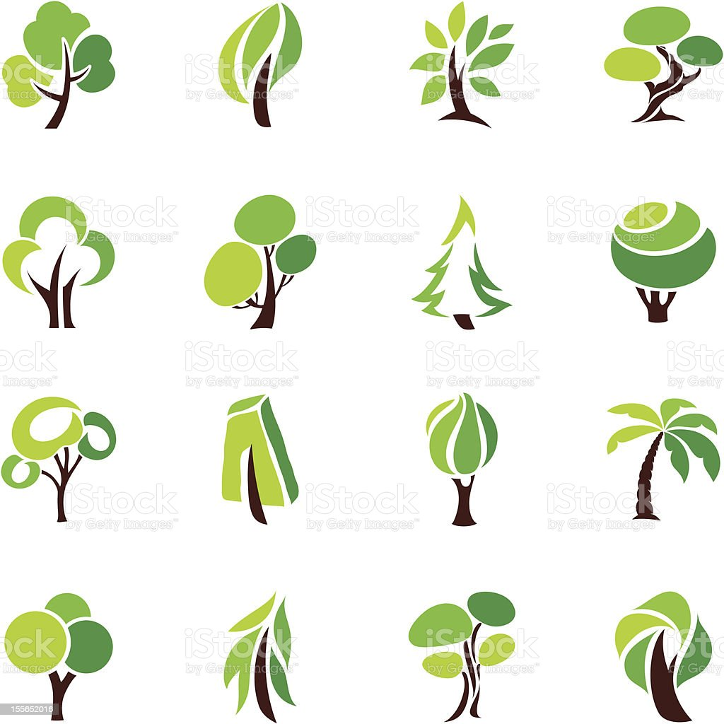 Trees. Collection of design elements. vector art illustration