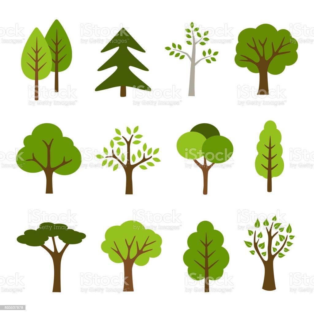 Árboles de la colección - ilustración de arte vectorial