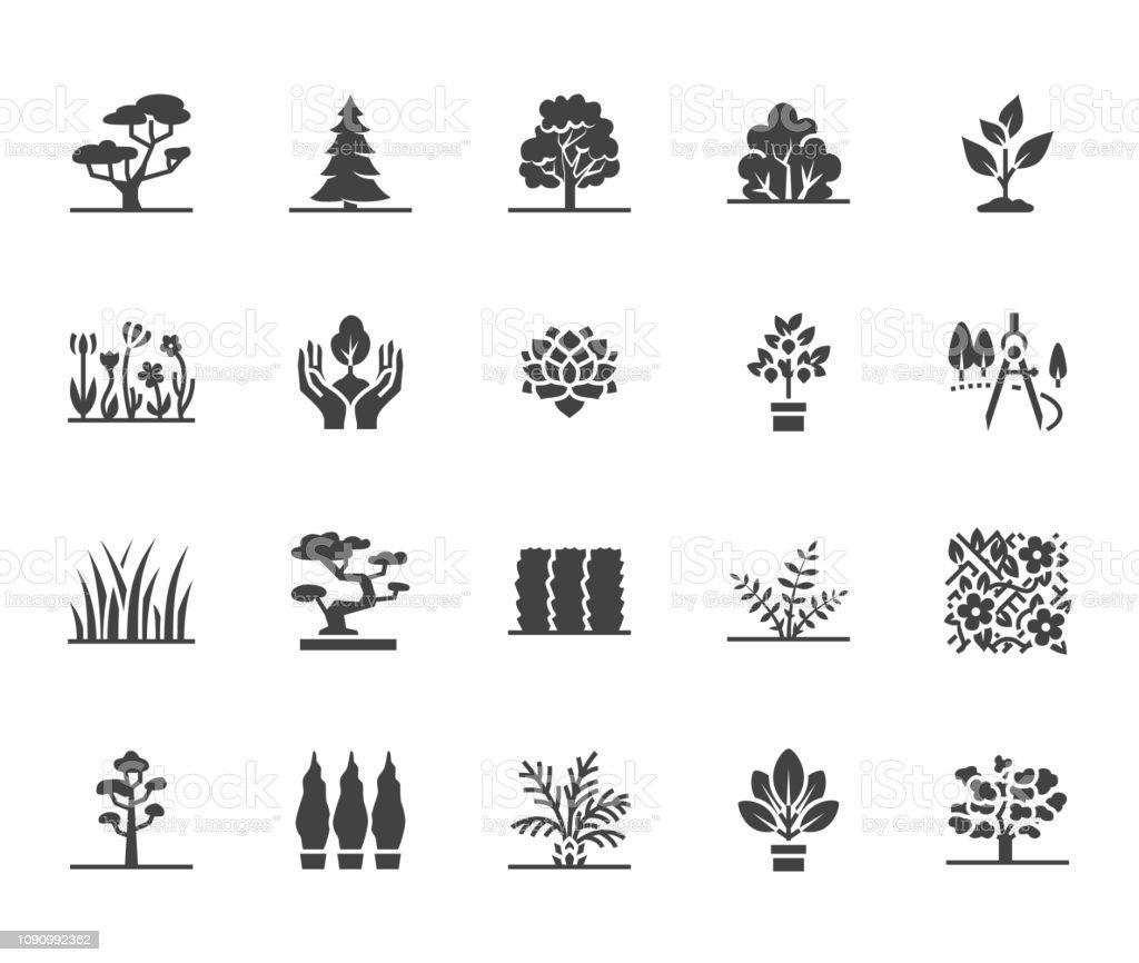 Icônes De Glyphe Plat Arbres Définies Plantes Paysage Design Sapin