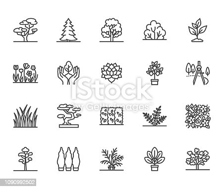 Trees flat line icons set. Plants, landscape design, fir tree, succulent, privacy shrub, lawn grass, flowers vector illustrations. Thin signs for garden store. Pixel perfect 64x64. Editable Strokes.
