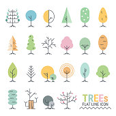 Trees flat line icons with simple geometric shapes created for Web, Document, Greeting Card, Poster, Label, infographic, 2d animation and Other Decoration Surface. Beautiful tree which can be used in many purposes. Eps10 vector.