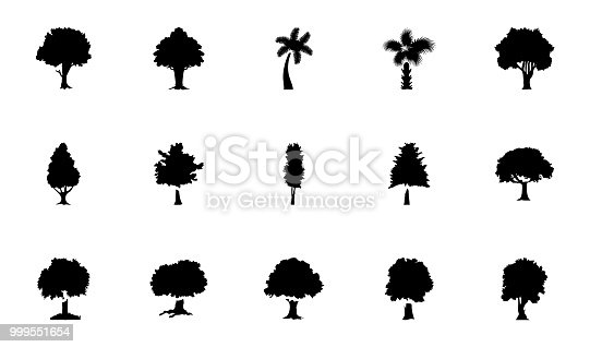 These glyph vector icons represent trees. The pack has wide range of trees and greenery which are perfect to be used in related projects.