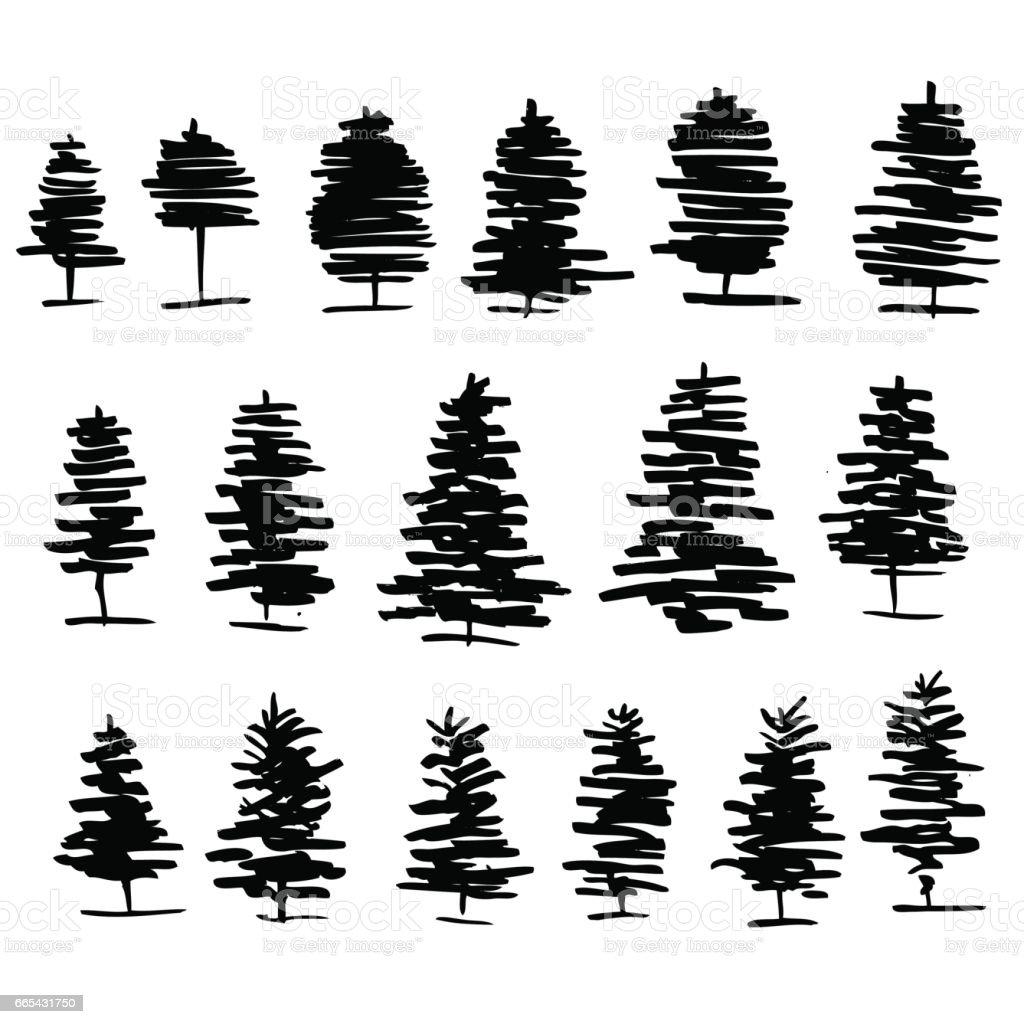 Bäume Grafik Hand Gezeichnete Vektor Gravur Doodle Zu Skizzieren ...