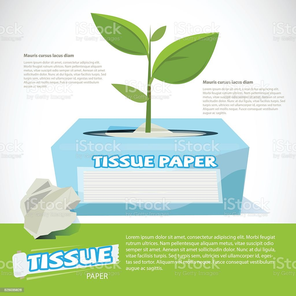 Trees growing on tissue paper box. eco paper - vector vector art illustration