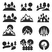 Trees icon set , vector illustration
