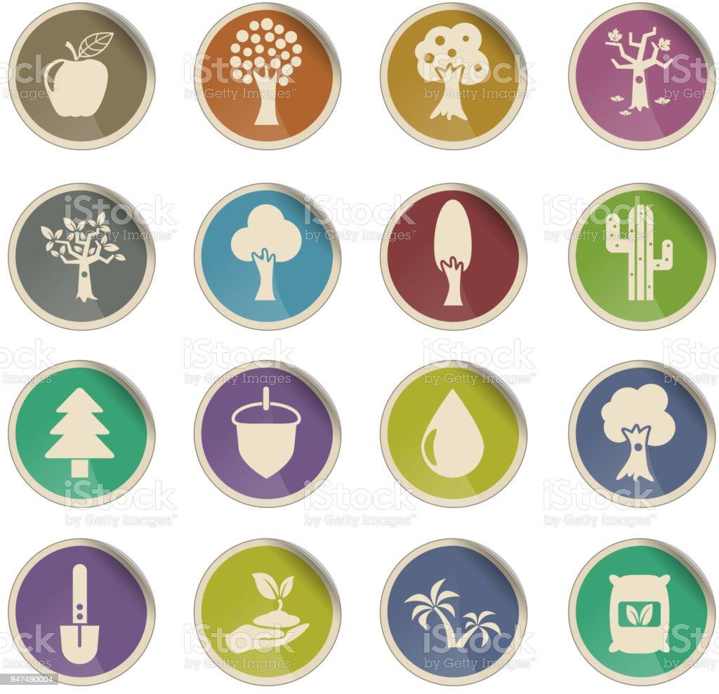 trees icon set vector art illustration