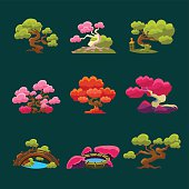 Trees In Japanese Style Set