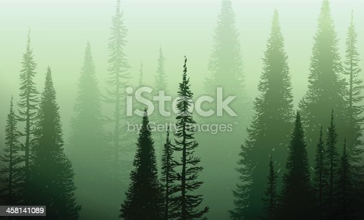 Vector illustration of a green forest eneloped in a green fog