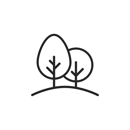 Trees, Nature Line Icon. Editable Stroke. Pixel Perfect. For Mobile and Web.