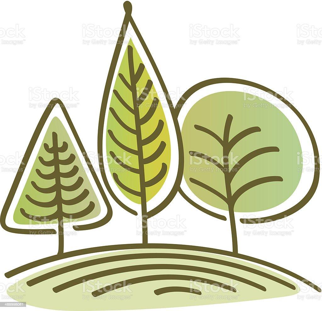 Bäume auf einem Hügel – Vektorgrafik