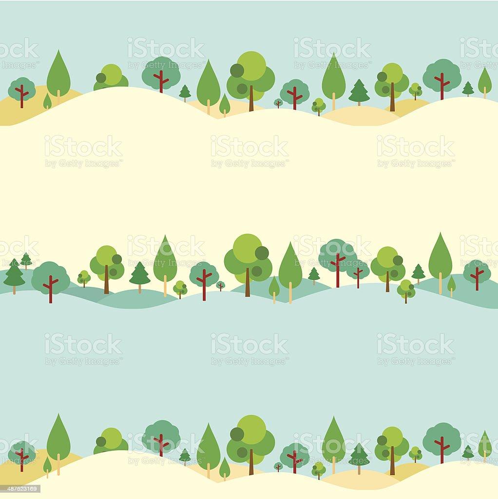の丘を背景に自然木 ベクターアートイラスト