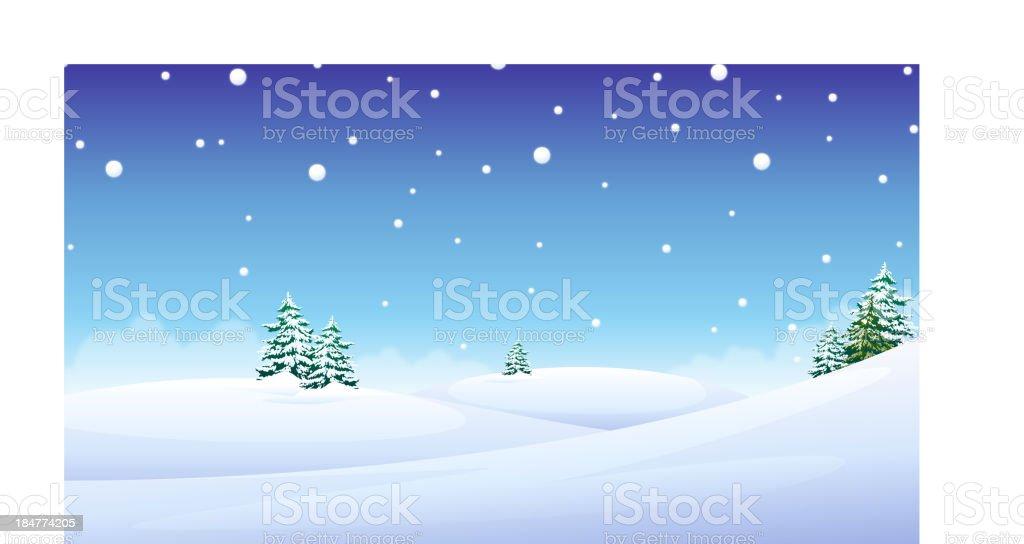 trees over snow landscape vector art illustration