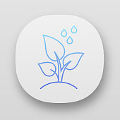 istock Trees planting app icon. Reforestation volunteer project. Small plant and water drops. Care of young seedling. UI/UX user interface. Web or mobile applications. Vector isolated illustrations 1208354783