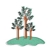 trees set in grassland in watercolor silhouette vector illustration