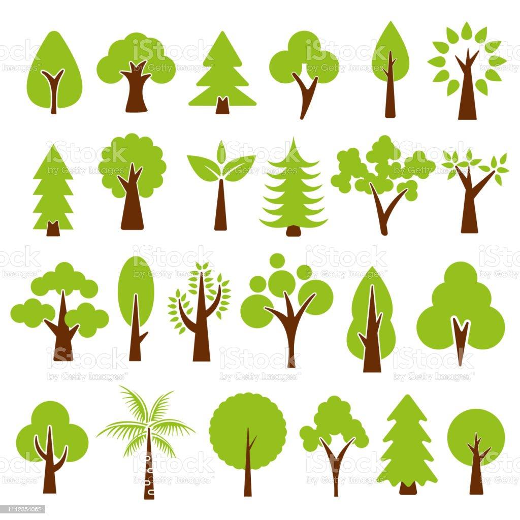 trees set isolated on white background , vector illustration. vector art illustration