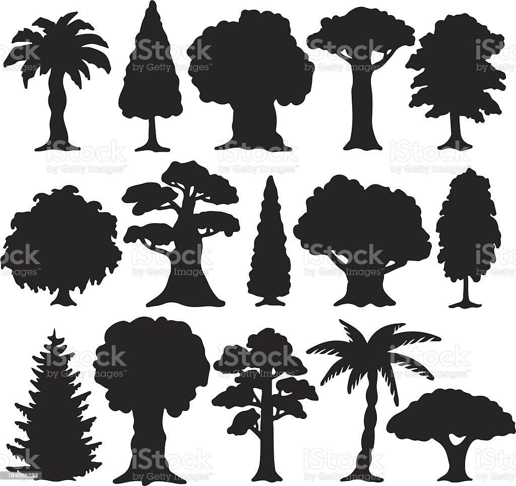 Trees set of black silhouette vector art illustration
