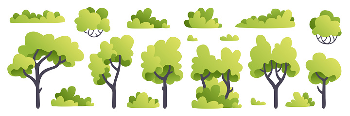 Trees set. Plants isolated. Forest background. Green color. Simple cute cartoon design. Flat style vector illustration. Nature and healthy lifestyle. Tree silhouette. Icons collection.