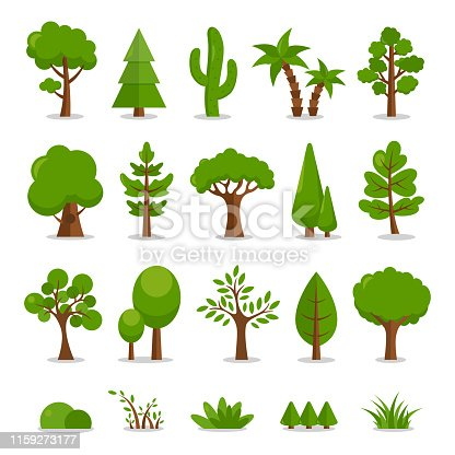 Trees Set - Vector Cartoon Illustration