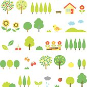 trees set, vector file