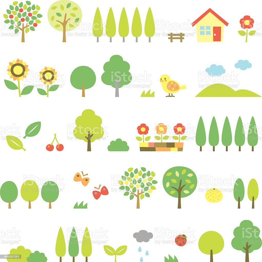 trees set vector art illustration
